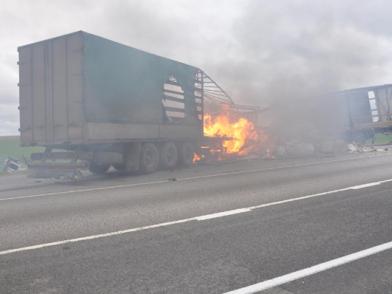 Трагическое ДТП под Рязанью:Две фуры загорелись после лобового столкновения